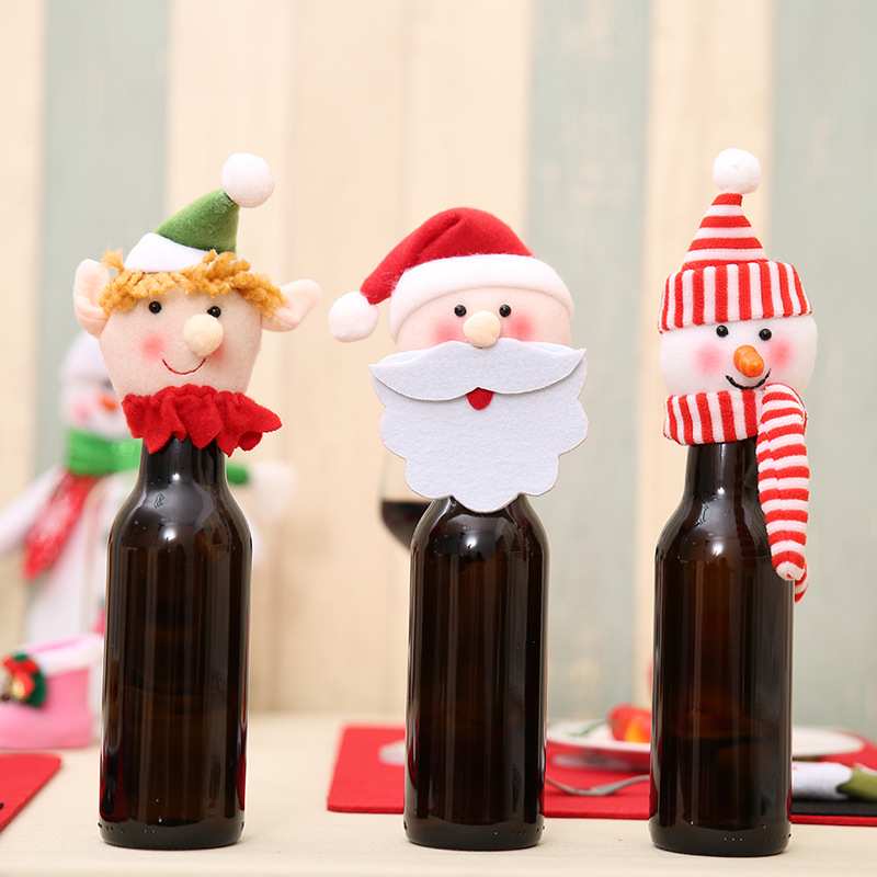 1pcs Year Christmas Decorations for Home Wine Bottle Cover Christmas Gift Bag Home Decoration Accessories -THF