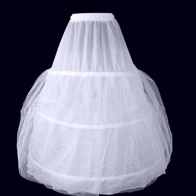 Precio con descuento 2016 Mejor Calidad Enagua Larga de Una Línea de Vestidos de Puffy Vestidos de Novia en Stock Blanco Envío Gratis
