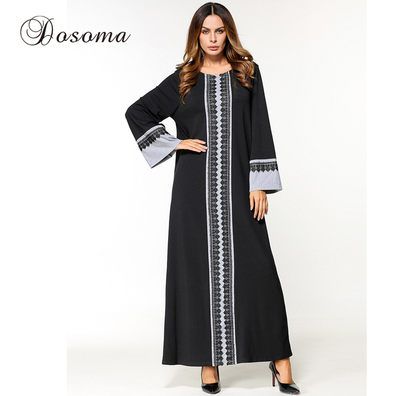 2ef4bc8b15e Buy Online Casual Women Abaya Lace Maxi Dress Knit Cotton Long Sleeve Loose  Muslim Middle East Robe Gowns Ramadan Arab Islamic Clothing For Sale at ...