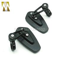 Universal Black Pair Of Motorcycle Mirror Motor Motorbike Rearview Side Handle Bar End Mirrors For KTM
