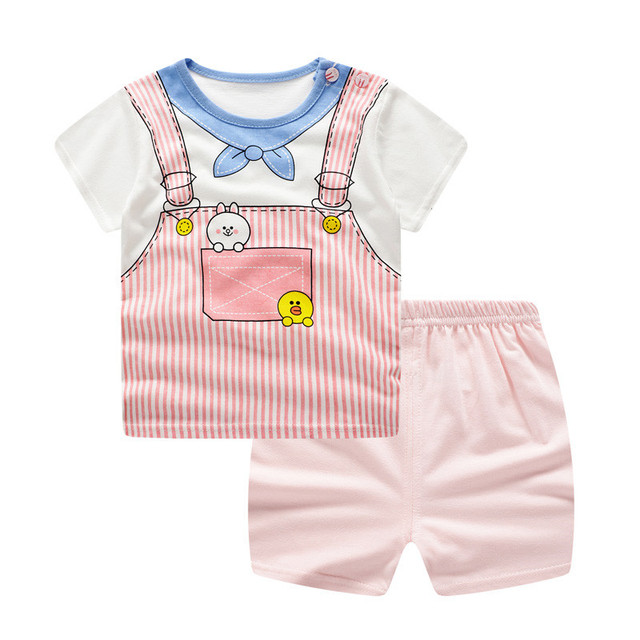 Summer Newborn Baby Girl Clothing Set Suit Casual Print Cartoon Tshirt Tops Pants 2Pcs Baby Clothes Outfits Sets Infant Clothing