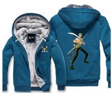 ワンピースアニメ服ための男性と女性秋冬服韓国バージョンプラスサイズベルベットのフード付きジッパーコート