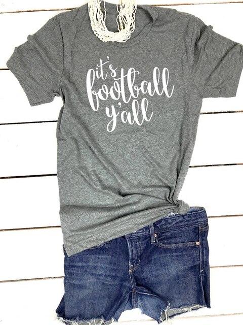 c8e4b05d9 it's football yall Tee Game Day Yall Sunday football T-Shirt Short Sleeve  Cute Women Tops Letter Printed tshirts football shirt