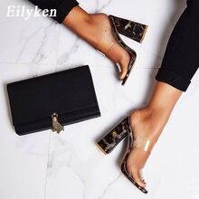 Eilyken Sexy PVC przezroczyste Leopard ziarna panie kapcie letnia moda wysokie obcasy na imprezę buty Gladiator slajdy sandały kobiet