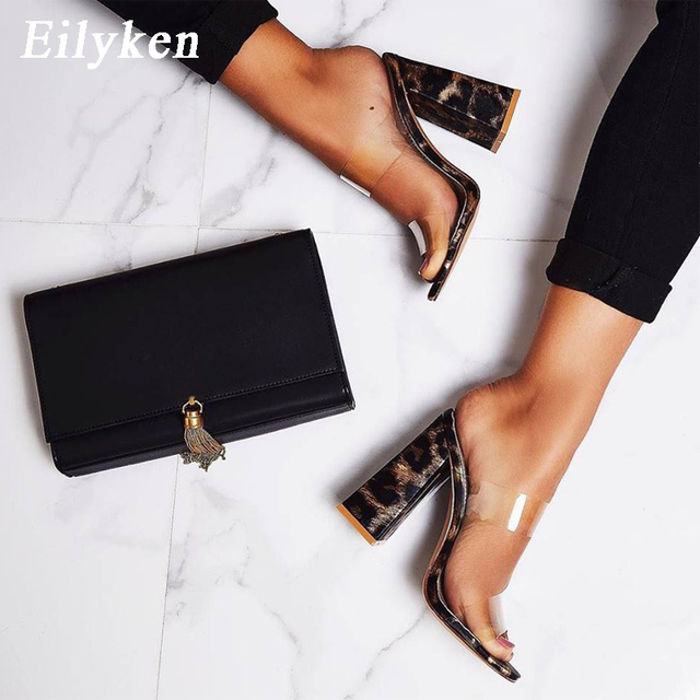 Eilyken seksi PVC şeffaf leopar tahıl bayanlar terlik yaz moda parti yüksek topuklu ayakkabı gladyatör slaytlar sandalet kadın