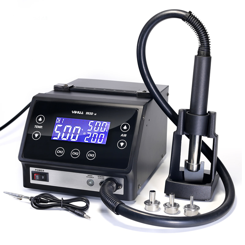 YIHUA 993DM фена паяльная станция Оригинал ОУР Интеллектуальный светодиодный Дисплей Термовоздушная паяльная паяльной станции свинец