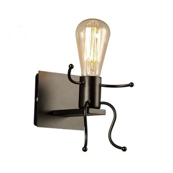 Vintage Industrial black Retro Indoor Wall Sconce Wall Lamp led Stair Light AC85-AC265V Corridor Lighitng bedside wall lights