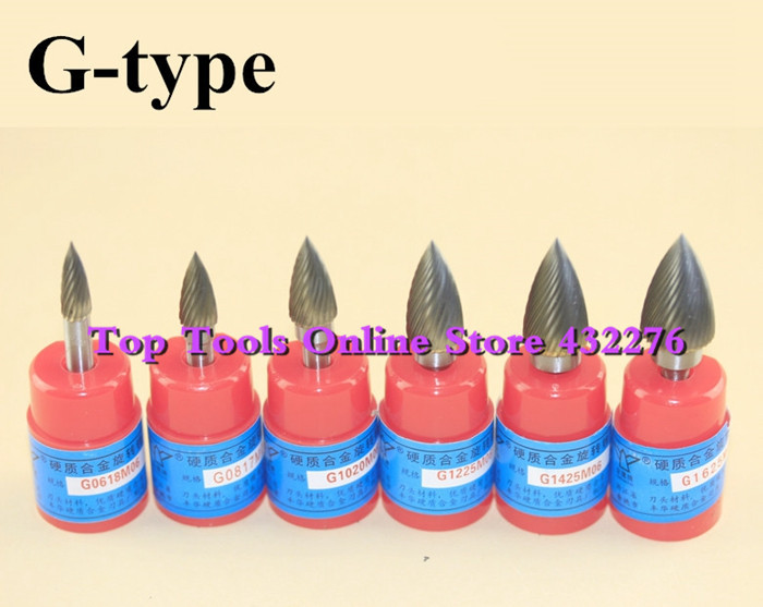 G-type 6pcs/set different sizes single cut arc pointed nose CARBIDE ROTARY BURR FILE 6MM Shank [randomtext category=