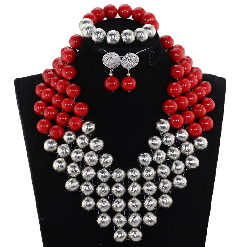 Amazing Red and Silver African Beaded Wedding Jewelry Sets for Women Handmade Chunky Statement Bridal Necklace Set NCL728Amazing Red and Silver African Beaded Wedding Jewelry Sets for Women Handmade Chunky Statement Bridal Necklace Set NCL728