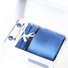 new leisure man blue neckwear male mariage necktie solid gravata formal business kravat gent wedding cufflink hanky neck tie set