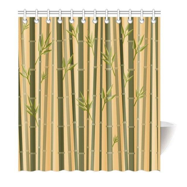 rideau de douche bambou vert et jaune impression Étanche mildewproof