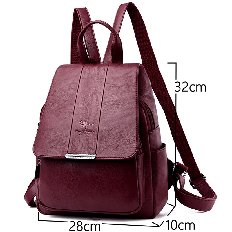 Women Backpacks Women's Leather Backpacks Female School Backpack Women Shoulder Bags For Teenage Girls Vintage 3-In-1