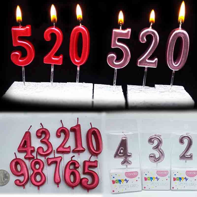 0-9 Shinning Pink//Blue Crown Number Candles Birthday Party Candle Cake Decor