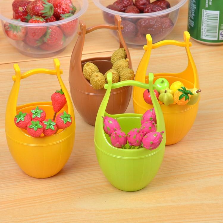 1SET 1pc Lovely Bucket+6pcs fork Fruits Fork Plastic ...