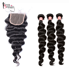3 Loose Wave Human Hair Bundles With Closure 4X4 Brazilian Hair Weave Bundles Deal Remy Nature Color Ever Beauty Hair Products