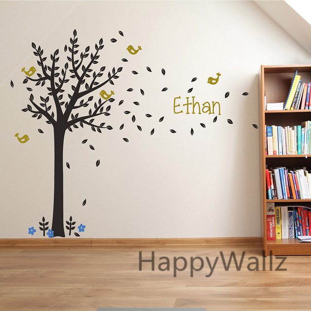 Custom Name Tree Wall Stickers Baby Nursery Tree Wall Decal Kids Room  Decors Children Name Wall