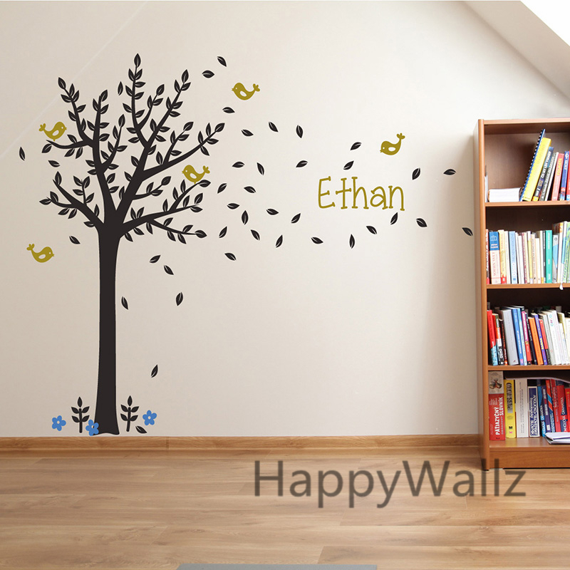 Custom Name Tree Wall Stickers Baby Nursery Tree Wall Decal Kids Room Decors Children Name Wall Stickers C1