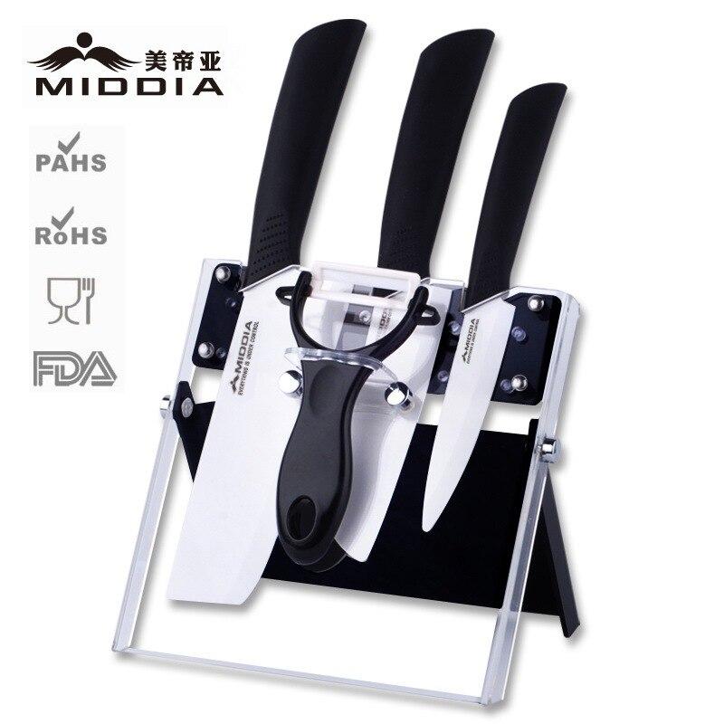 Middia 5pcs Ceramic Knife set with block antibaterial chef ceramic knifes sets at Fruit Santoku Cleaver