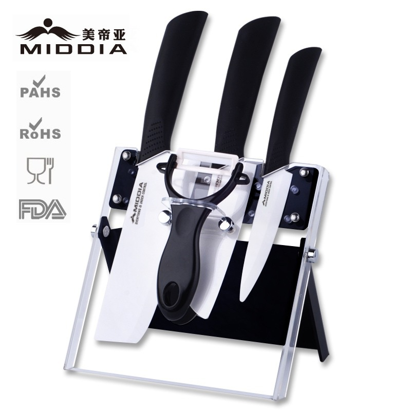 Middia 5pcs Ceramic font b Knife b font set with block antibaterial chef ceramic knifes sets