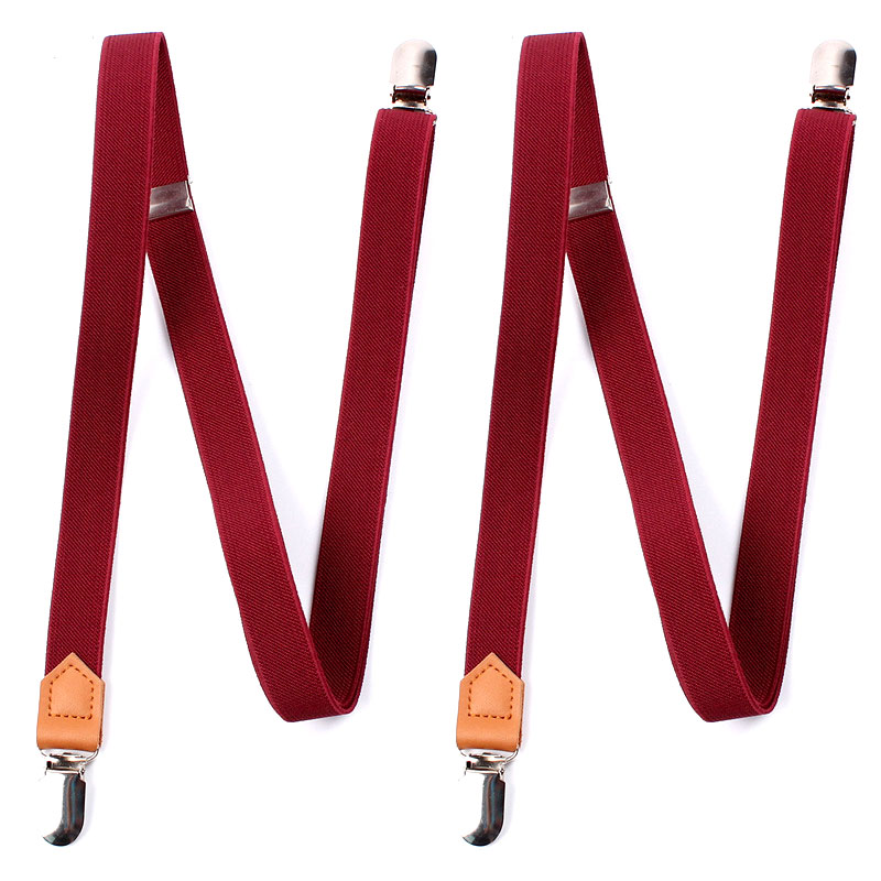 Split Suspenders With Four Clip Straps Uncrossed Wine Red 2 Cm Wide FY18110310