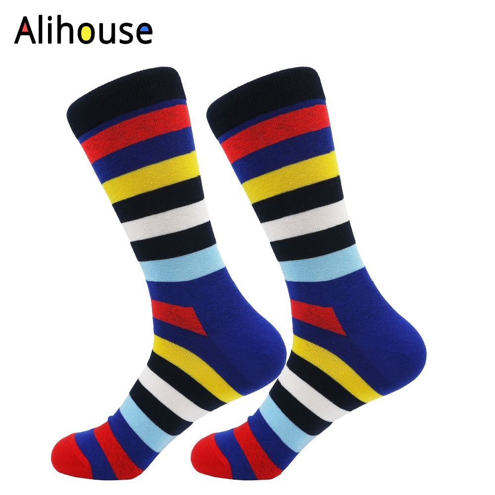 Alihouse Novelty Fashion Socks Colorful Funny Combed Cotton Dress Wedding Striped Socks Casual Long Women Party Sock Mans Socks