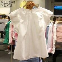 Solid White Women Blouse shirt Pleated Female Blusas 2019 New Korean Fahion Loose Casual Blusa Summer O-neck 4300 50