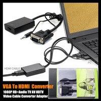 1 יחידות! 2015 הגעה חדשה VGA ליציאת HDMI 1080 P HD + אודיו AV הטלוויזיה HDTV כבל וידאו ממיר מתאם, עם תיבה הקמעונאי