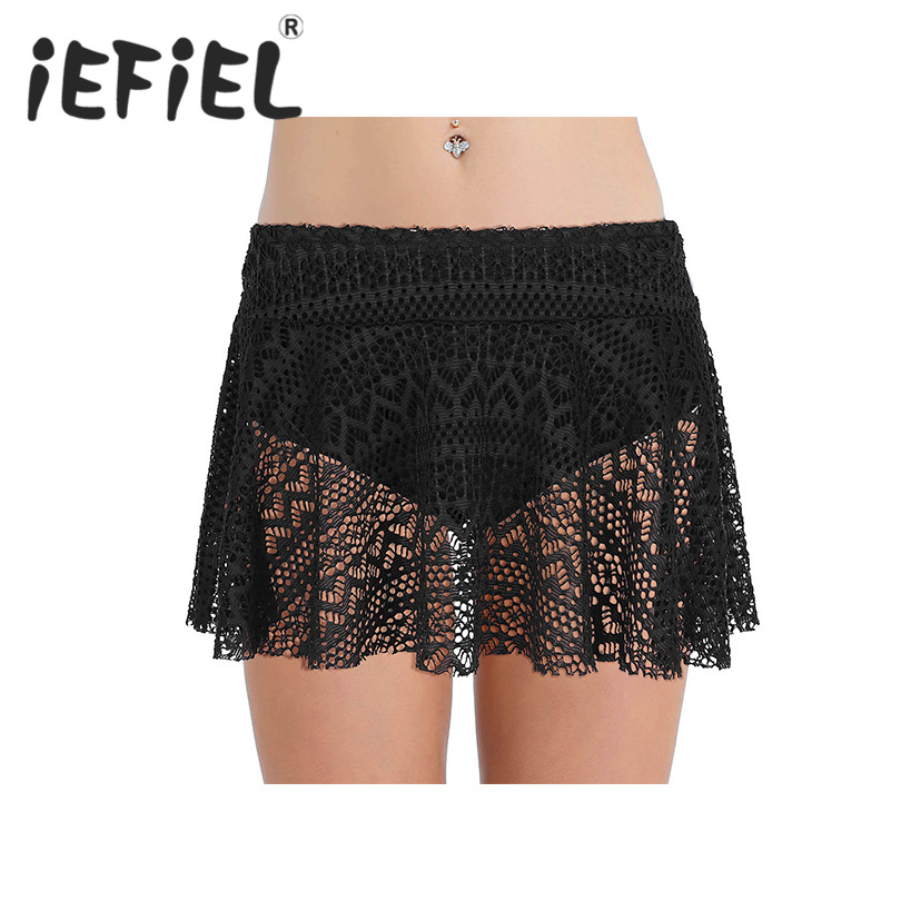 Women Female Lace Skirt Mid Waist Crochet Lace Swim Skirt with Built-in Bikini Brief Short Swim Skirt for Swimsuit Beachwear