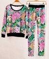 2015 женская Мода Толстовки Цветочный Цветок Печатных Толстовка Костюм Набор Женщин Толстовка Костюмы Топы Верхняя Одежда Vestidos