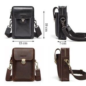 Image 4 - Top Quality Men Waist Pack Genuine Leather Vintage Travel Cell Phone Bag With Zipper Pocket Card Holder For Male Shoulder Bag