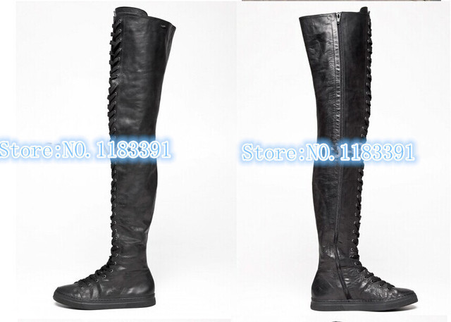 52fba08f4f597 2014 newest fashion hot selling women genuine leather casual thigh high  boots lace-up sneakers