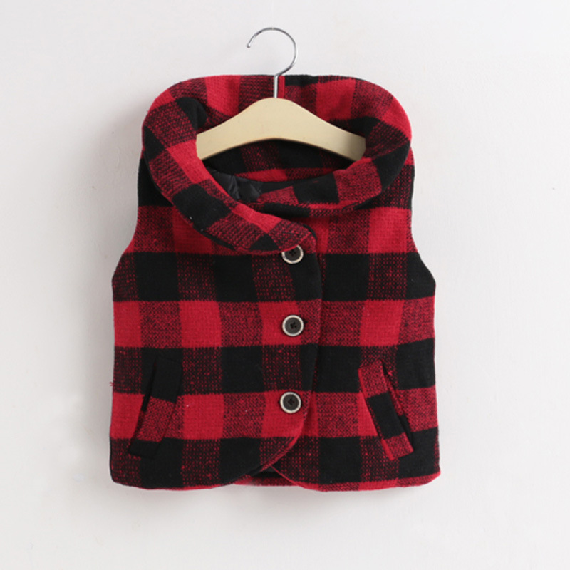 autumn winter kids girls vest baby turn down collar thick plaid printed single breasted vest toddler warm casual clothes tops slimming turn down collar patch pocket single breasted long sleeves woolen blend plaid coat for men