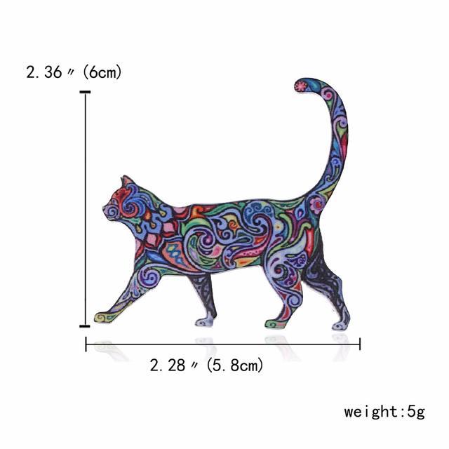 Acrylic Cat Shaped Brooch