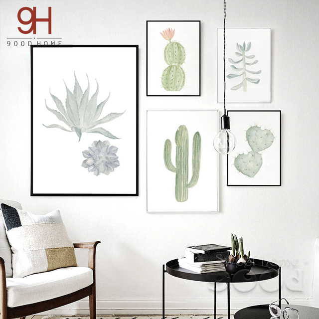 900D suculenta Canvas Art Print Poster Pintura de Acuarela, Cactus set Pared Cuadros para la Decoración Del Hogar, Home Decor DE007