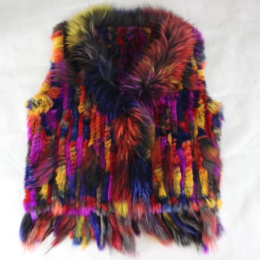 2019 New colour real rabbit knitted fur vest with genuine raccoon fur collar women winter warm fur jacket overcoat in Faux Fur from Women 39 s Clothing