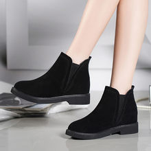 Women Square Heel Martain Boot Suede Slip-On Keep Warm Boots Round Toe Shoes #TXD(China)