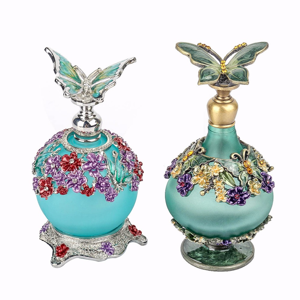 H&D Wedding Home Decorative Butterfly Lid Perfume Bottles Retro Frosted Empty Refillable Glass Bottle Handmade Lady Wedding Gift