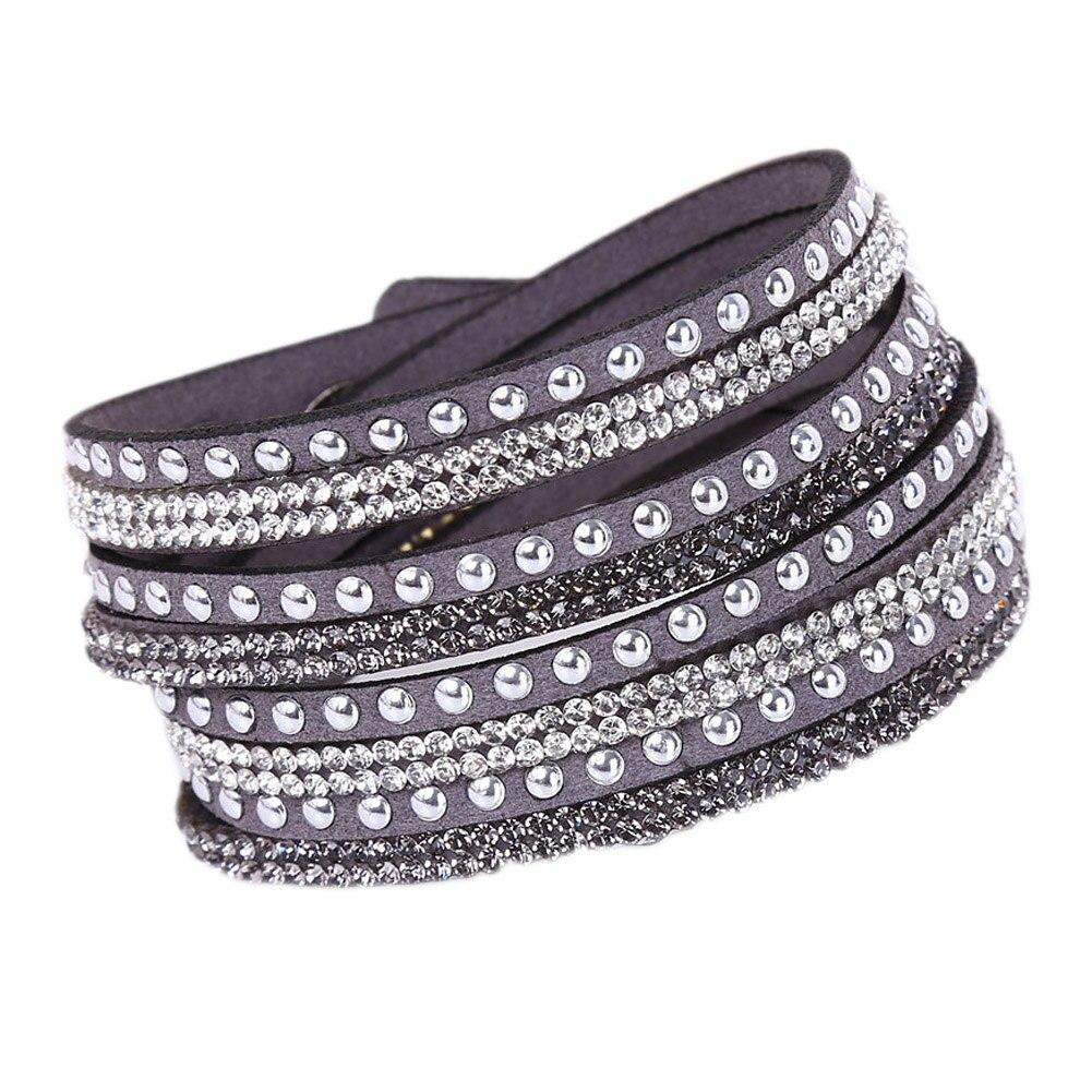 JieyueJewelry Drill Bangle For Girl women Gift Handmade Velvet Bracelet With Bling Rhinestone Wrap Leather Bracelet