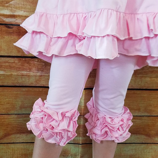 1-9years girl Ruffle Capris Pink knit boutique capris leggings girls capris pants ruffle knee-length wholesale leggings
