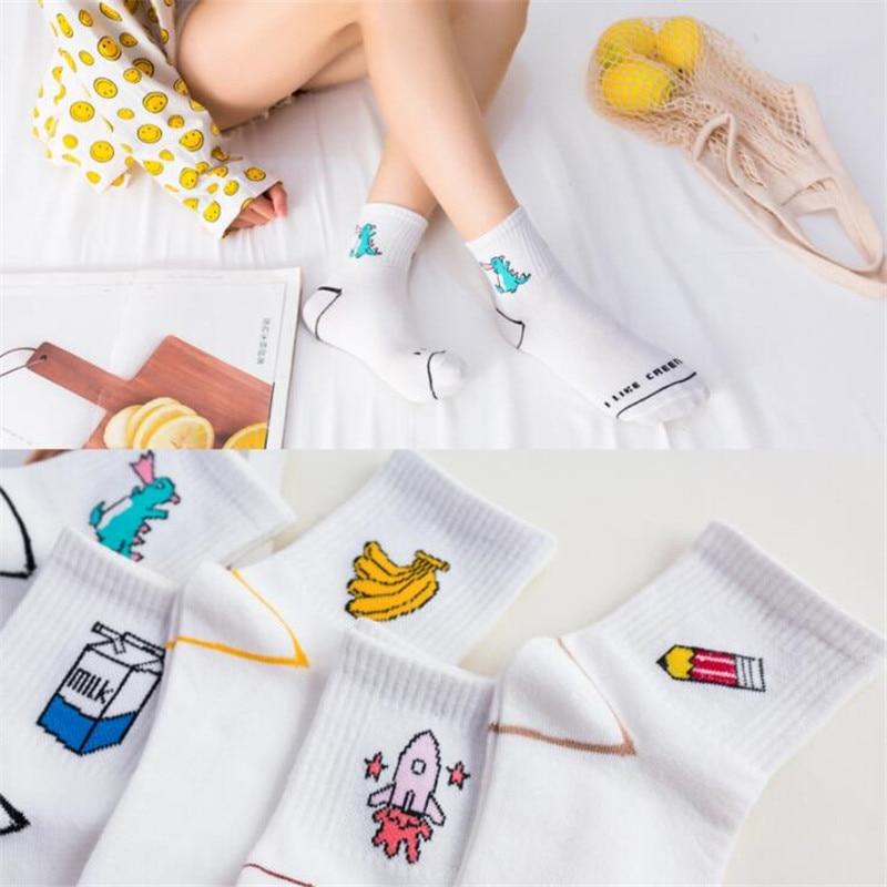 Fashion Harajuku Fruit Cute Meias White   Socks   For Women Girl Female Rocket Dinosaur   Socks   Breathable Food Cotton   Socks   Women