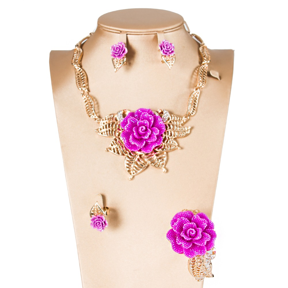 LAN PALACE bridal jewelry set wedding jewelry rose turkish jewelry crystal earrings necklace ring bracelet free shipping