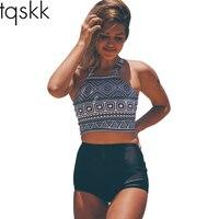TQSKK 2017 High Waist Bikinis Women Swimwear Plus Size Swimuit Female Retro Beachewear Bikini Set Bathing