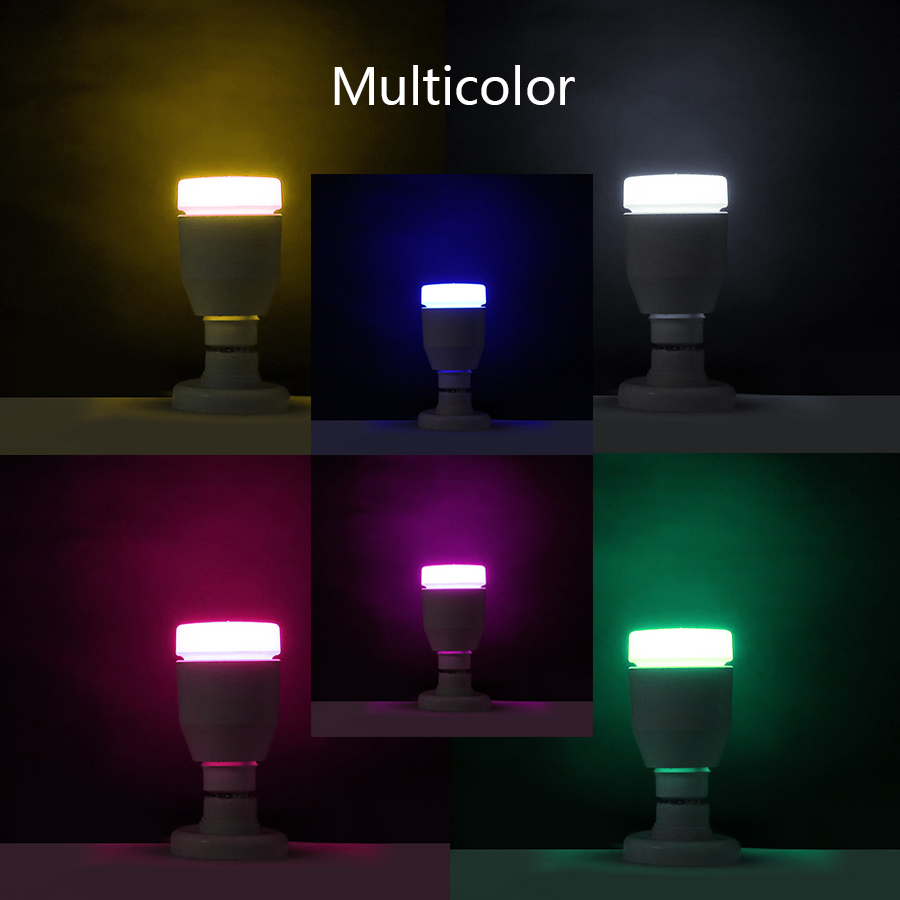 4 Pack E27 Smart RGB Bluetooth Bulb Lamp 7W Speaker Wireless Music Playing Colorful Dimmable LED Remote Bulb Light Holiday Party - 4