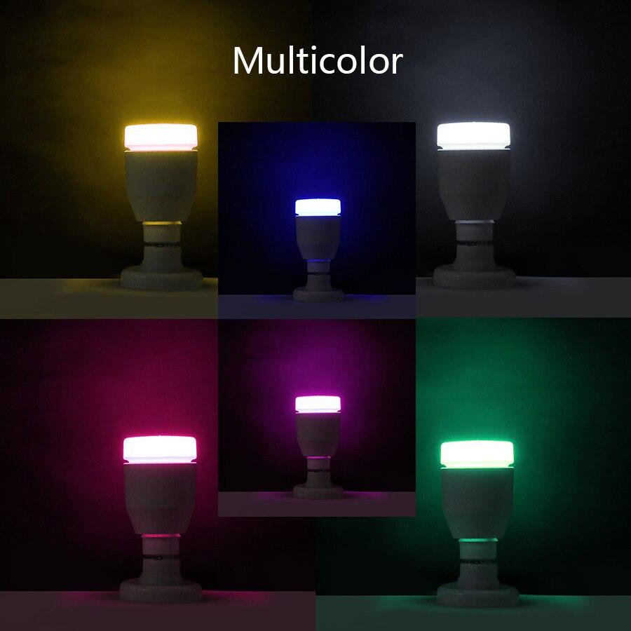 4 paquete E27 inteligente Bluetooth RGB lámpara de bulbo 7 W altavoz de la música colorido LED regulable bombilla remota luz de vacaciones fiesta - 4
