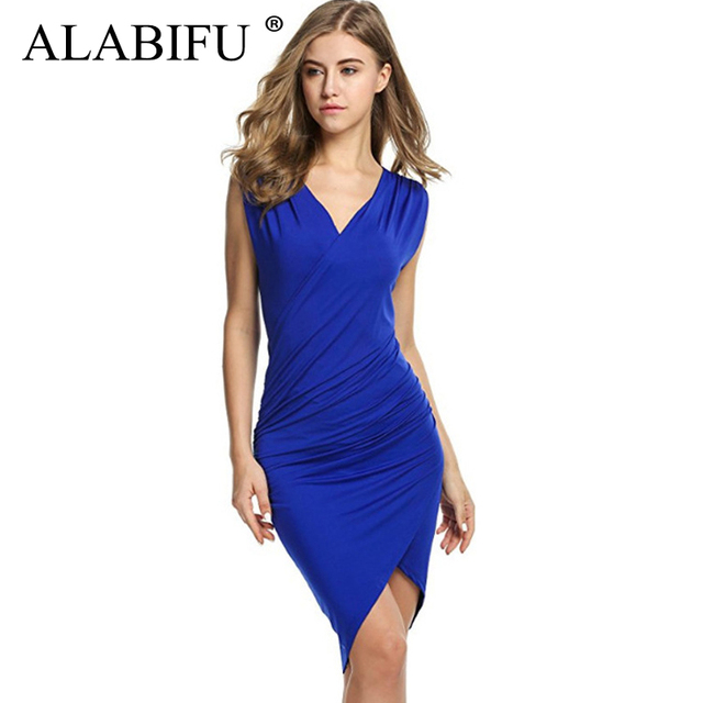 ALABIFU Summer Dress Women 2019 Sexy Slim Bodycon Solid Dress Casual Vintage Wedding Bridesmaids Party Dress Black ukraine 2XL