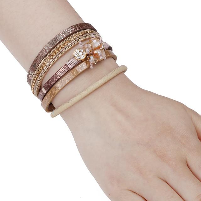Multilayer Crystal Embellished Leather Bracelet