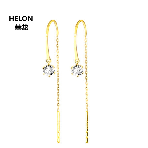 Boucles d'oreilles en or jaune 18k diamants naturels pour femmes boucles d'oreilles fines de fiançailles mariage