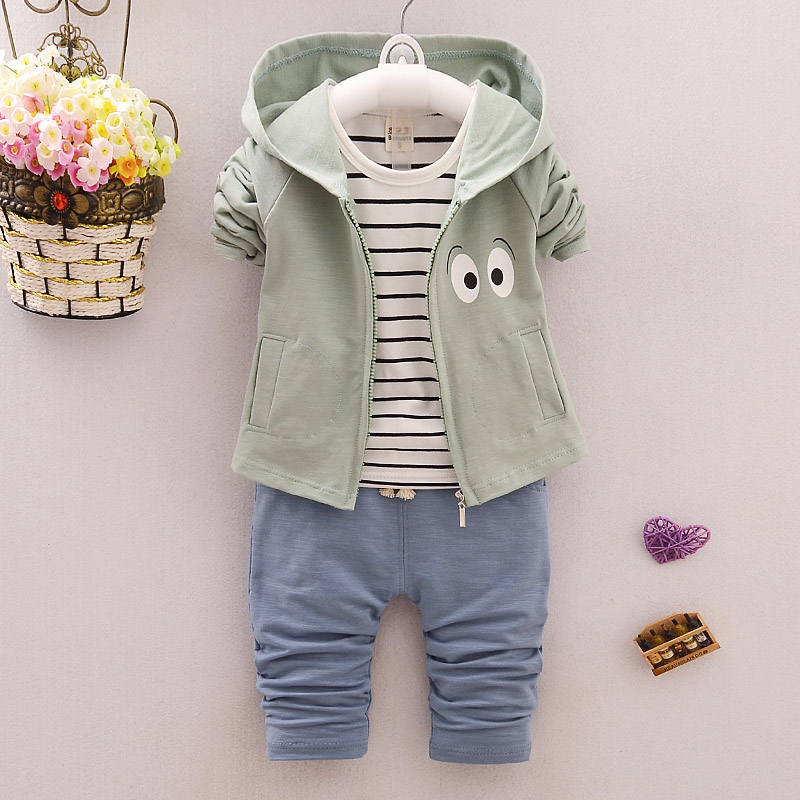 Newest 2017 Spring Baby Girls Boys Suits Hooded Coat+T Shirt+Pants 3 Pcs Infant Cotton Suits Cartoon Kids Children Casual Suits