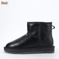 INOE classic waterproof sheepskin leather fur lined short winter snow boots for women casual winter ankle shoes black grey 35 44