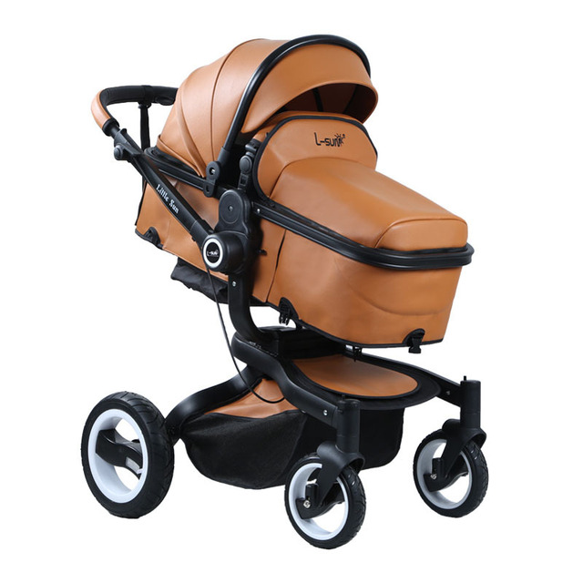 Free Shipping Brown Leather Baby Stroller High View Wheelchair Pram Buggiest Carriage